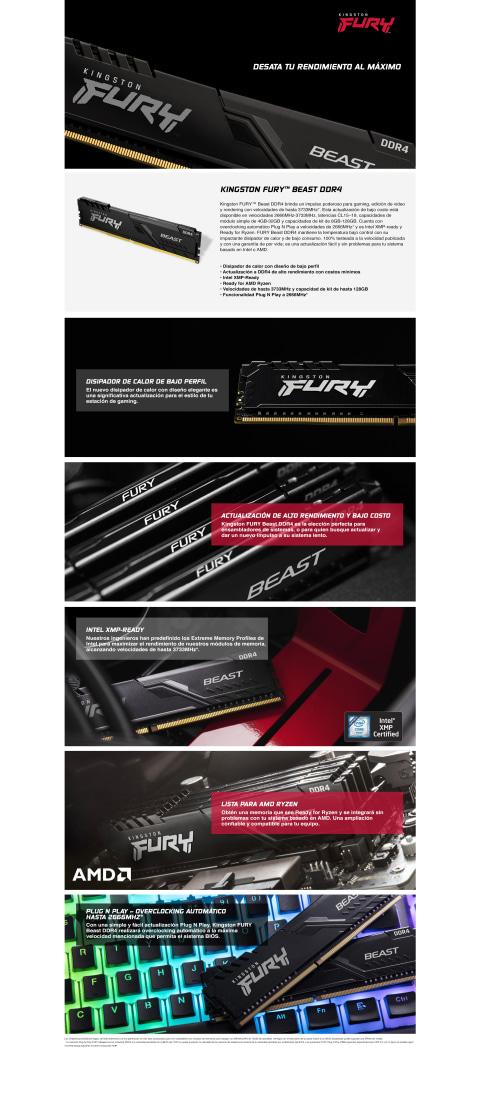 Memoria Ram DDR4 16GB 3200MHz Kingston FURY Beast DIMM, Non-ECC, CL16, 1.35V