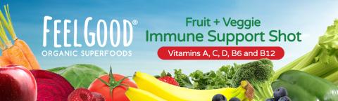 FeelGood fruit & Veggie Immune Support Shot. Vit A,C,D,B6 & B12