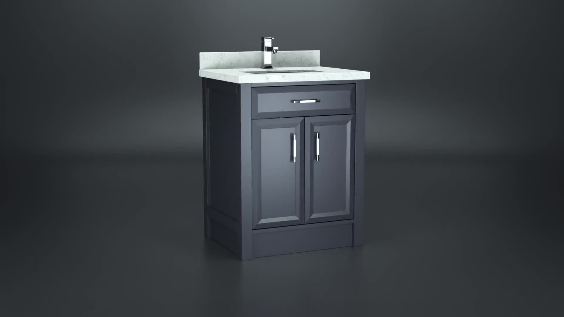 Spa Bathe Calumet 28 In White Undermount Single Sink Bathroom Vanity With White With Grey Veins Engineered Stone Top In The Bathroom Vanities With Tops Department At Lowes Com