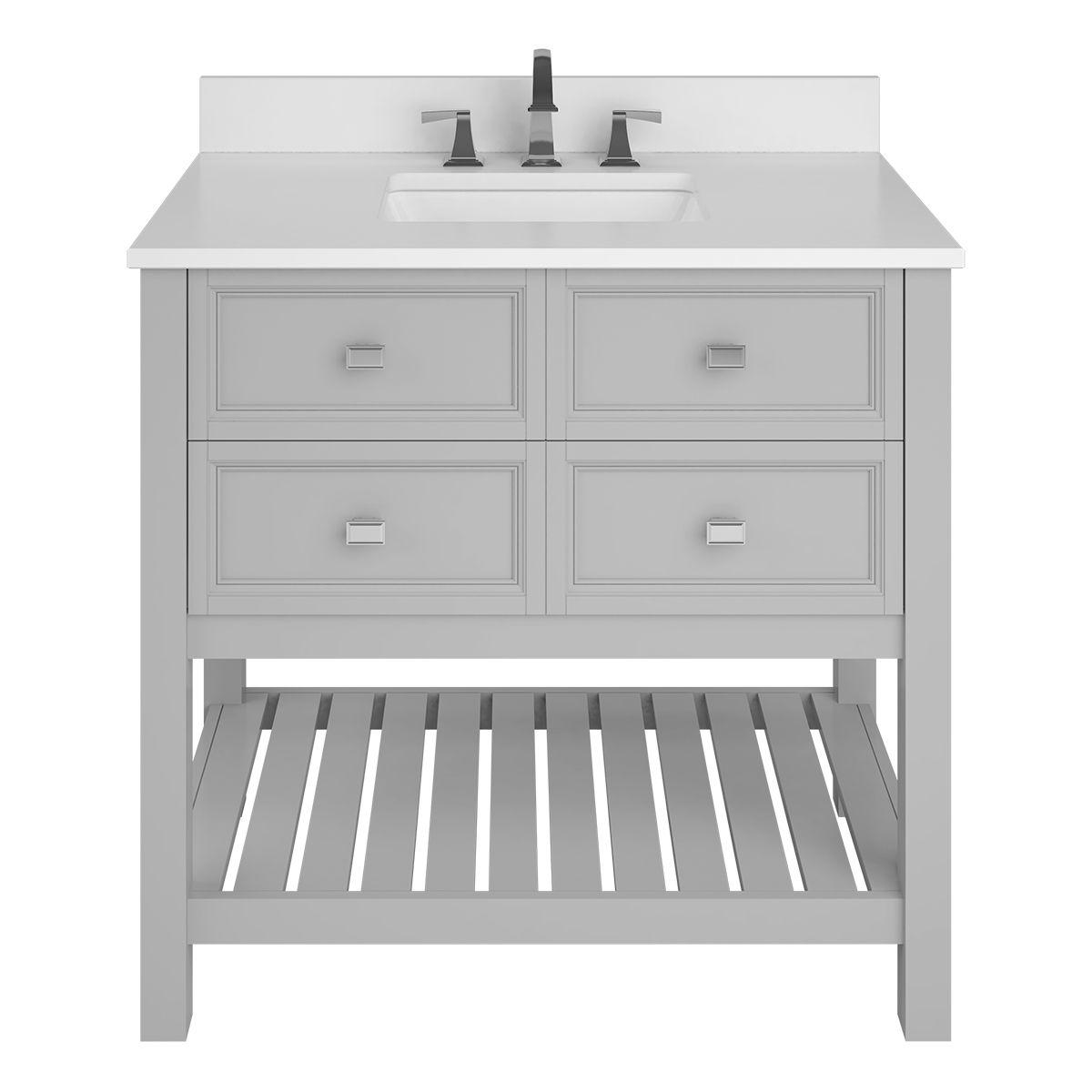 Allen Roth Canterbury 36 In Light Gray Undermount Single Sink Bathroom Vanity With Carrara Engineered Stone Top In The Bathroom Vanities With Tops Department At Lowes Com