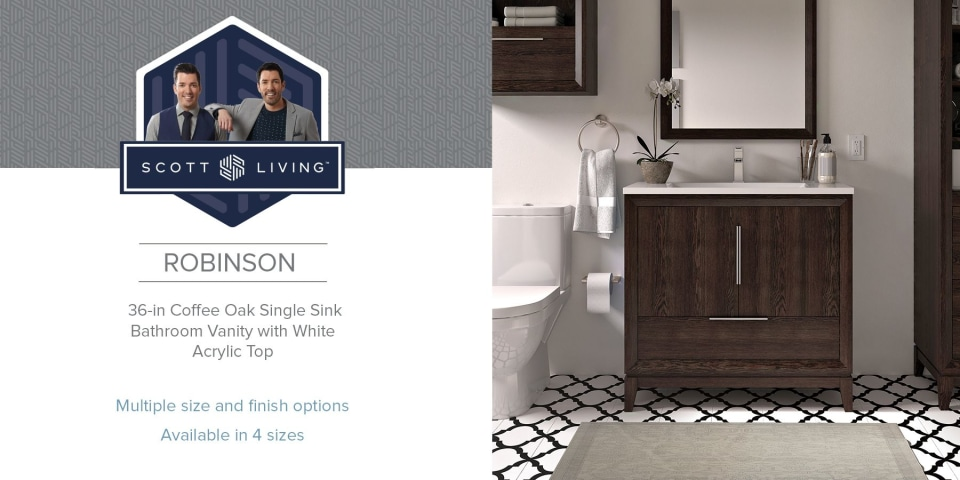 Robinson 36 In Coffee Oak Single Sink Bathroom Vanity With White Acrylic Top In The Bathroom Vanities With Tops Department At Lowes Com