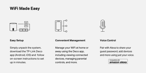 Easy Setup and management with Deco App. Pair with Amazon Alexa to share guest password and more.