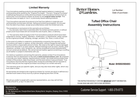 BHG Tufted Office Chair Assembly Manual