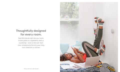 Diseñado cuidadosamente para cada habitación. Google Nest Mini se integra perfectamente en tu hogar.