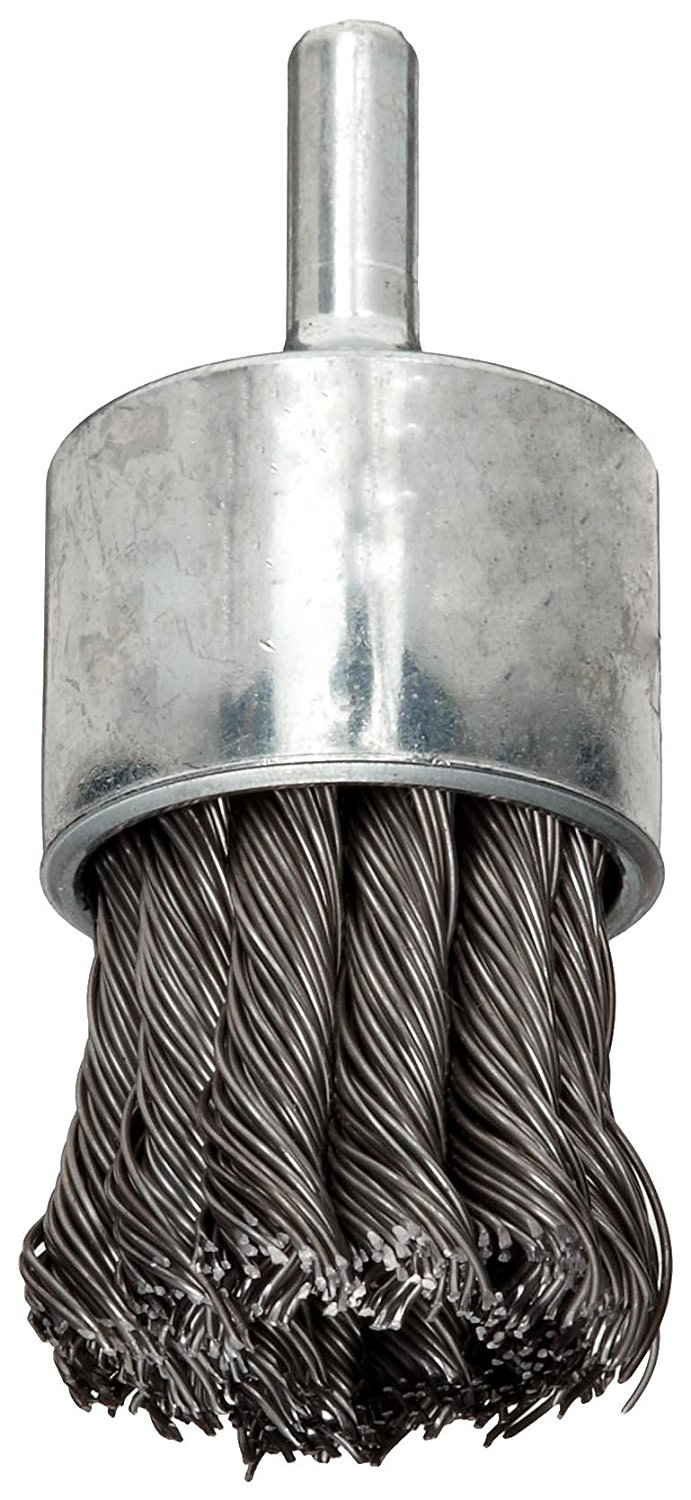Stainless Steel 302 Round Shank Solid End 22000 rpm Weiler Wire End Brush 0.006 Wire Diameter Crimped Wire 1 Diameter 1//4 Shank Pack of 1