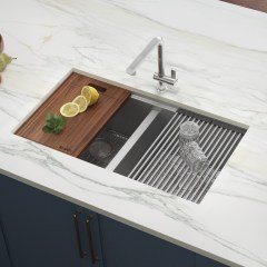 Ruvati Roma Undermount 30 In X 19 In Brushed Stainless Steel Double Equal Bowl Workstation Kitchen Sink In The Kitchen Sinks Department At Lowes Com