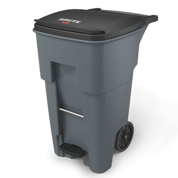 65 Gal Gray Rectangle Trash Can, Rubbermaid Outdoor Garbage Can With Lid