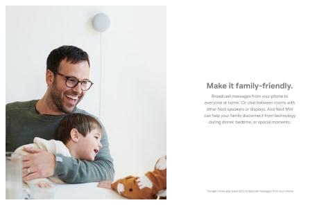 Hágalo apto para familias. Transmita mensajes desde el teléfono a todos en casa (se requiere la aplicación Google Home)