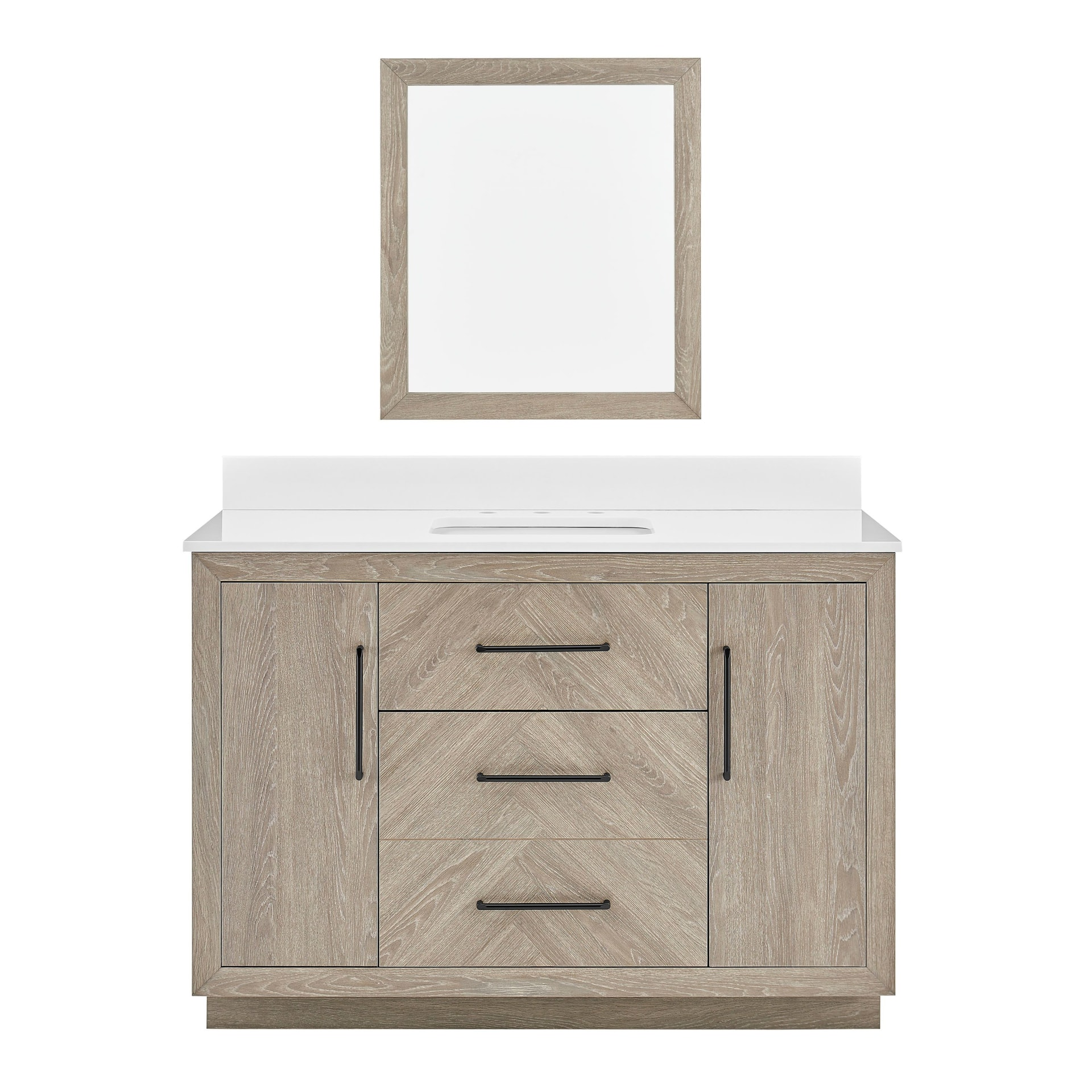 Style Selections 48 In Weathered Oak, Weathered Oak Bathroom Vanity Mirror