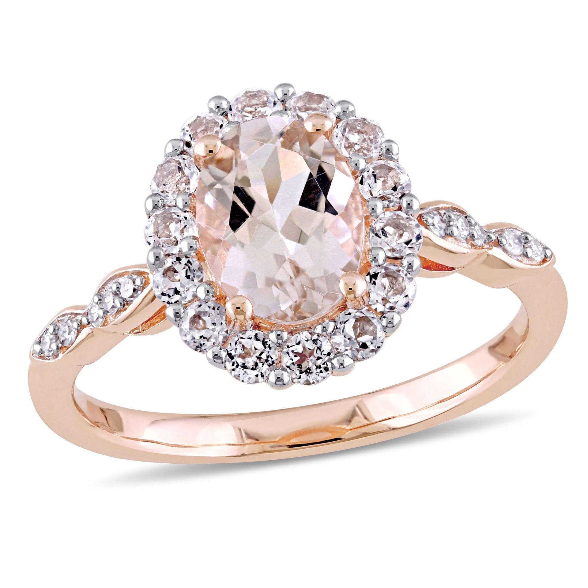 14k White Gold White Topaz Gemstone Ring with Diamond Halo