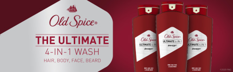 Old Spice. The ultimate 4-in-1 wash. Hair, body, face, beard