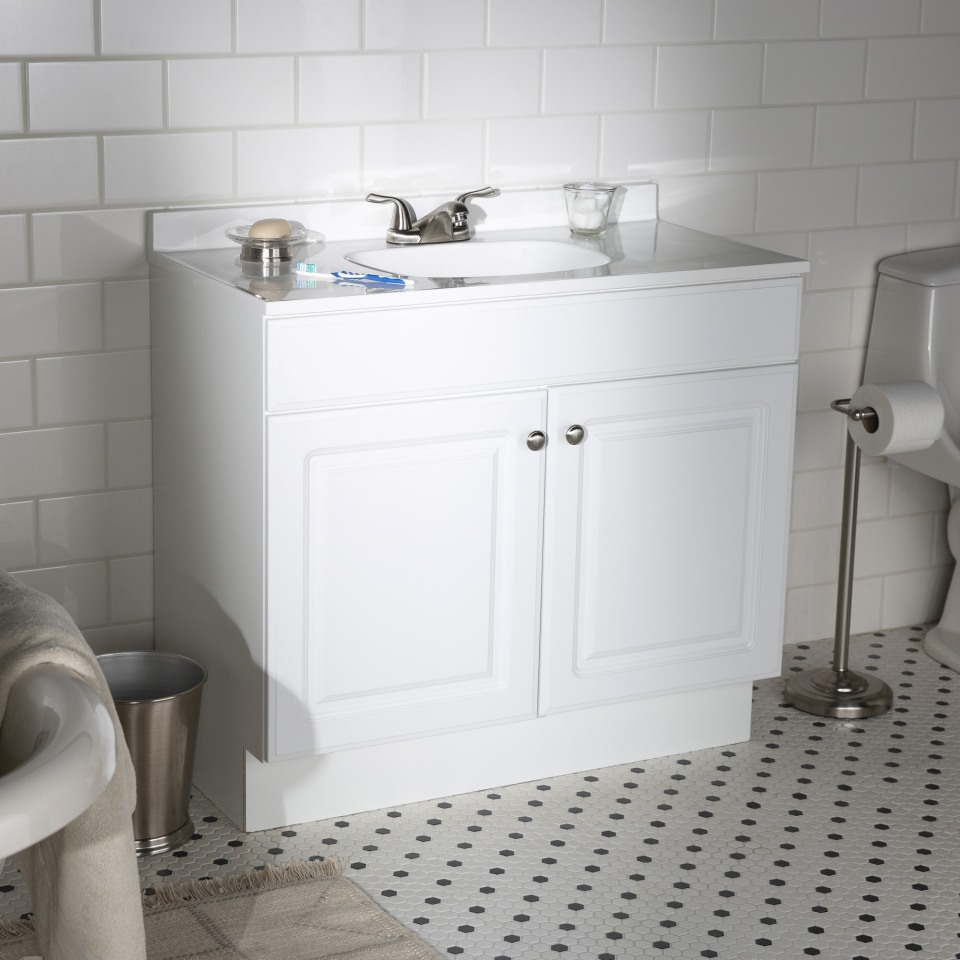Project Source 36 In White Single Sink Bathroom Vanity With White Cultured Marble Top In The Bathroom Vanities With Tops Department At Lowes Com