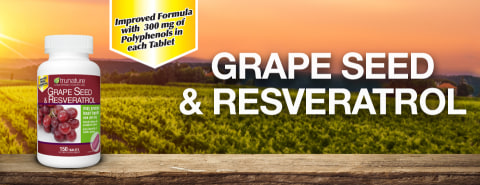 Grape Seed & Resveratrol, Improved formula with 300 mg of polyphenols in each tablet