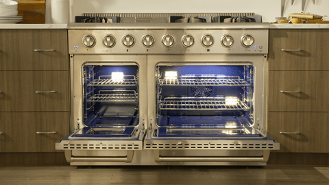 Thor Kitchen 48 In 6 Burners 4 2 Cu Ft 2 5 Cu Ft Convection Oven Freestanding Double Oven Gas Range Stainless Steel In The Double Oven Gas Ranges Department At Lowes Com