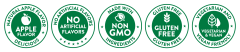 Apple Flavor, No Artificial Flavors, Non GMO, Gluten-Free, Vegetarian & Vegan
