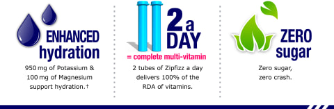 Zipfizz provides enhanced hydration, 2 tubes equal a complete multi-vitamin, and has zero sugar.