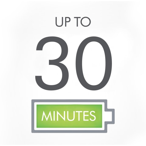 Up to 30 minutes of powerful fade-free suction
