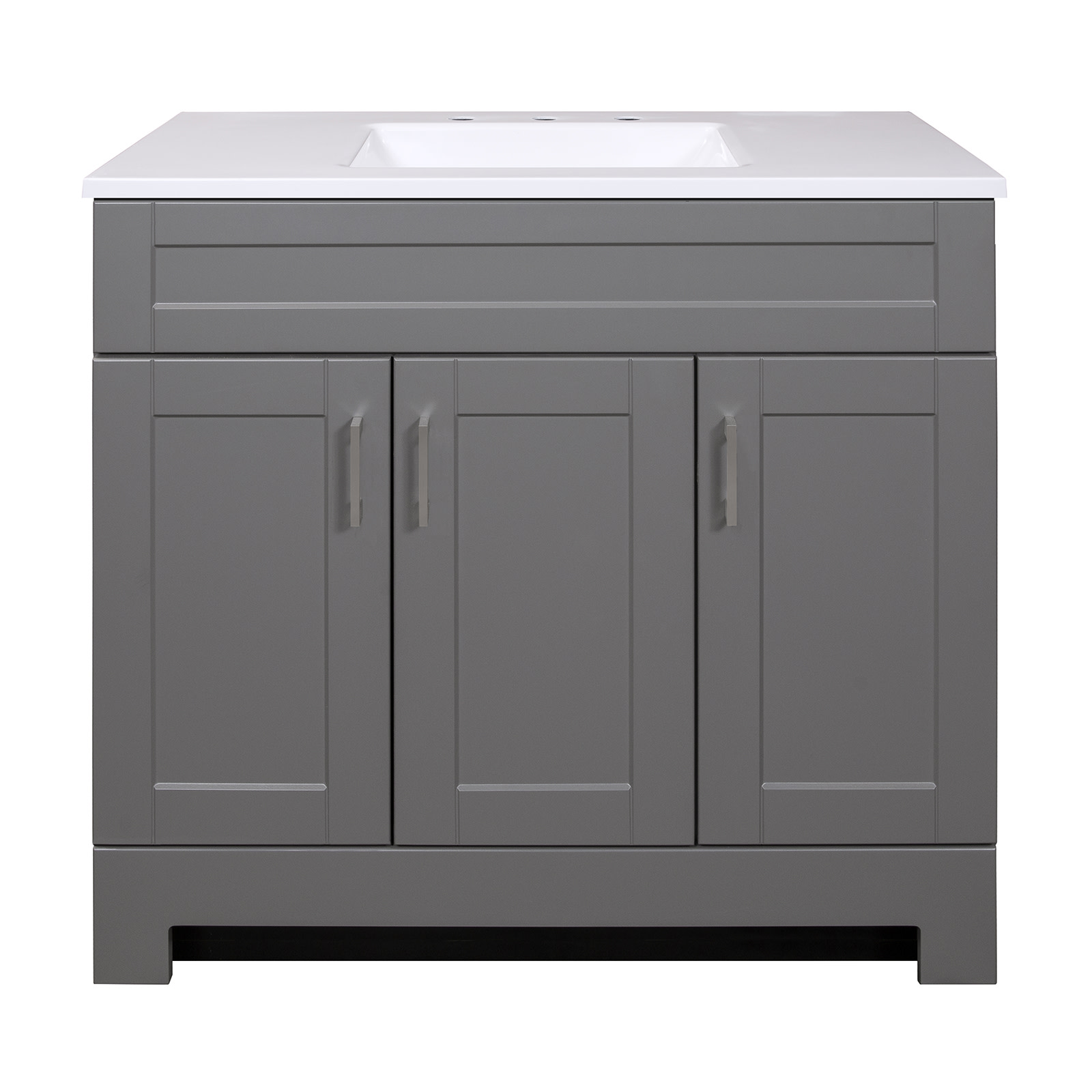 Style Selections 36 In Dark Gray Single Sink Bathroom Vanity With White Cultured Marble Top In The Bathroom Vanities With Tops Department At Lowes Com
