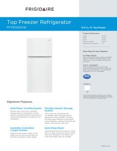Frigidaire FFTR1425VW-WW 13.9 CuFt Top Mount Refrigerator ...