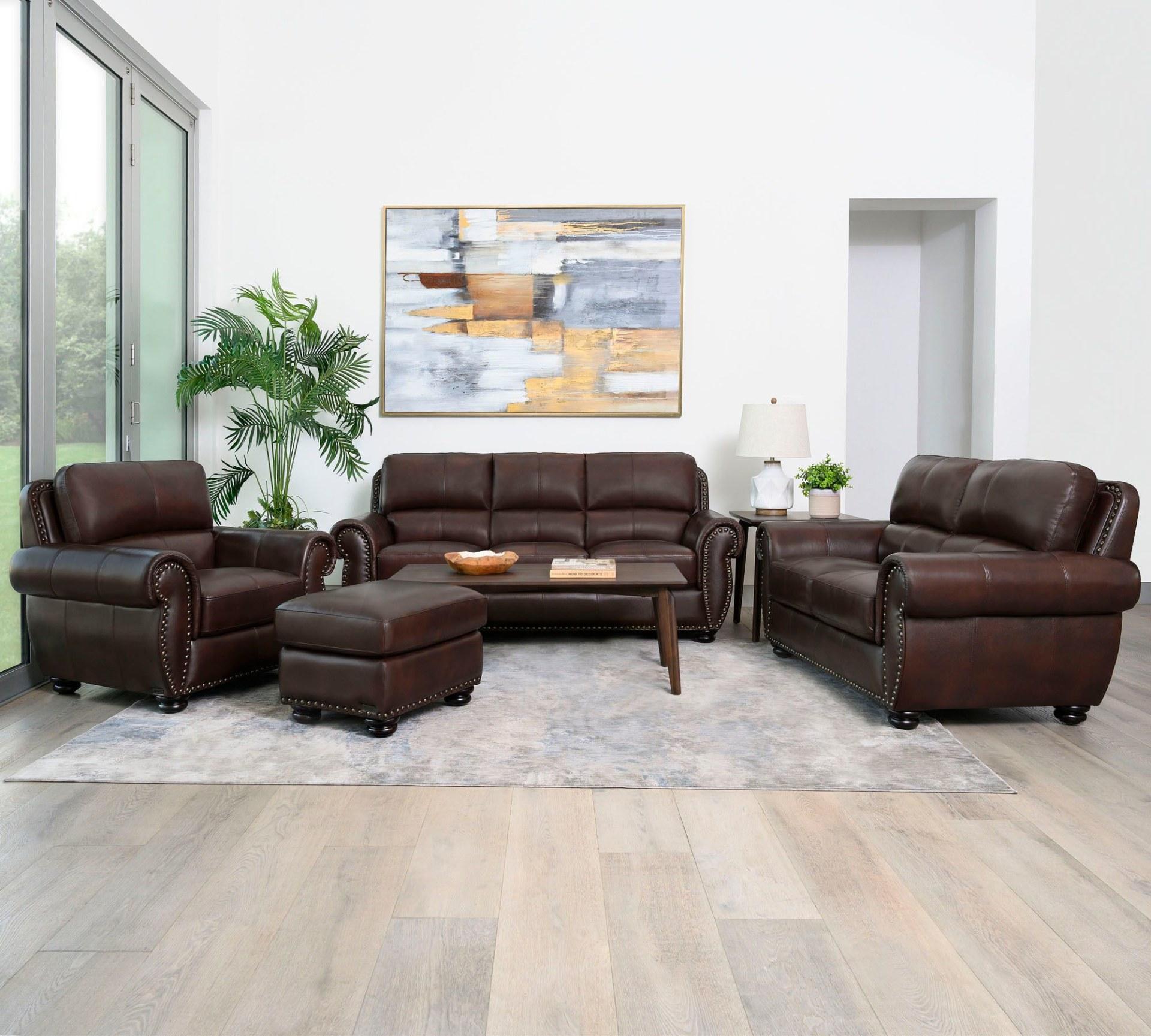 Austin 4 Piece Top Grain Leather Living, Living Room Set