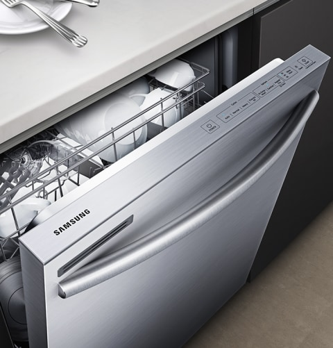 Dw80m2020us Samsung 24 Top Control Dishwasher With Adjustable Rack And Digital Leak Sensor Stainless Steel