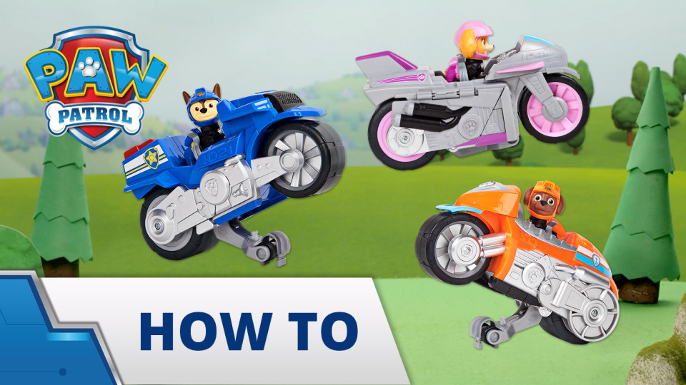 Paw Patrol Moto Pups Rubble/'s Deluxe Pull Back Motorcycle Vehicle with Wheelie Feature and Figure