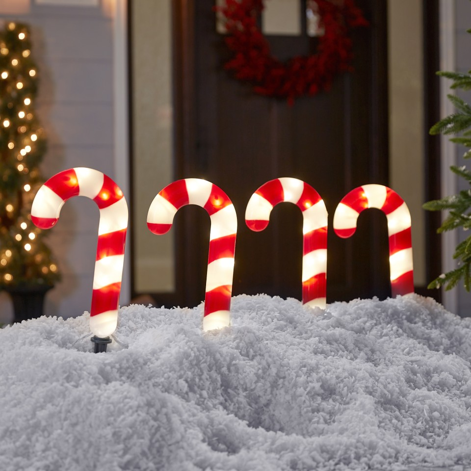 Christmas Candy Cane Stake Light Red//White 20 5Feet