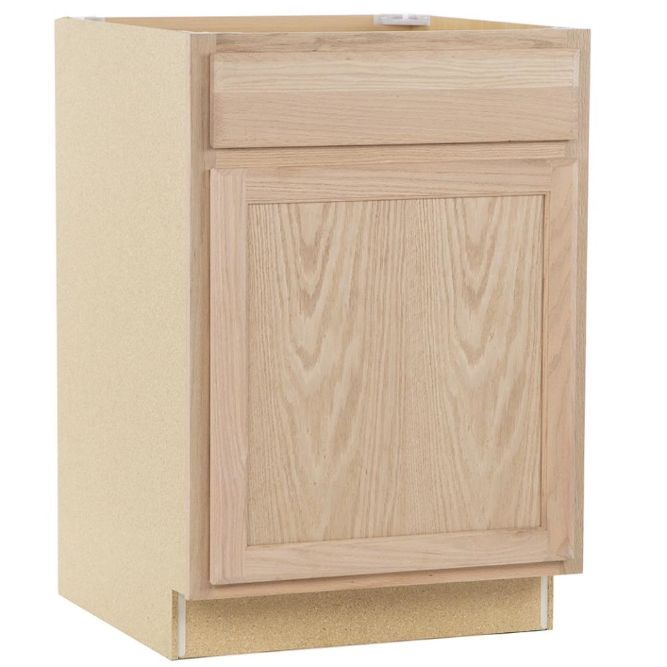 Project Source 24 In W X 35 In H X 23 75 In D Natural Unfinished Door And Drawer Base Stock Cabinet In The Stock Kitchen Cabinets Department At Lowes Com