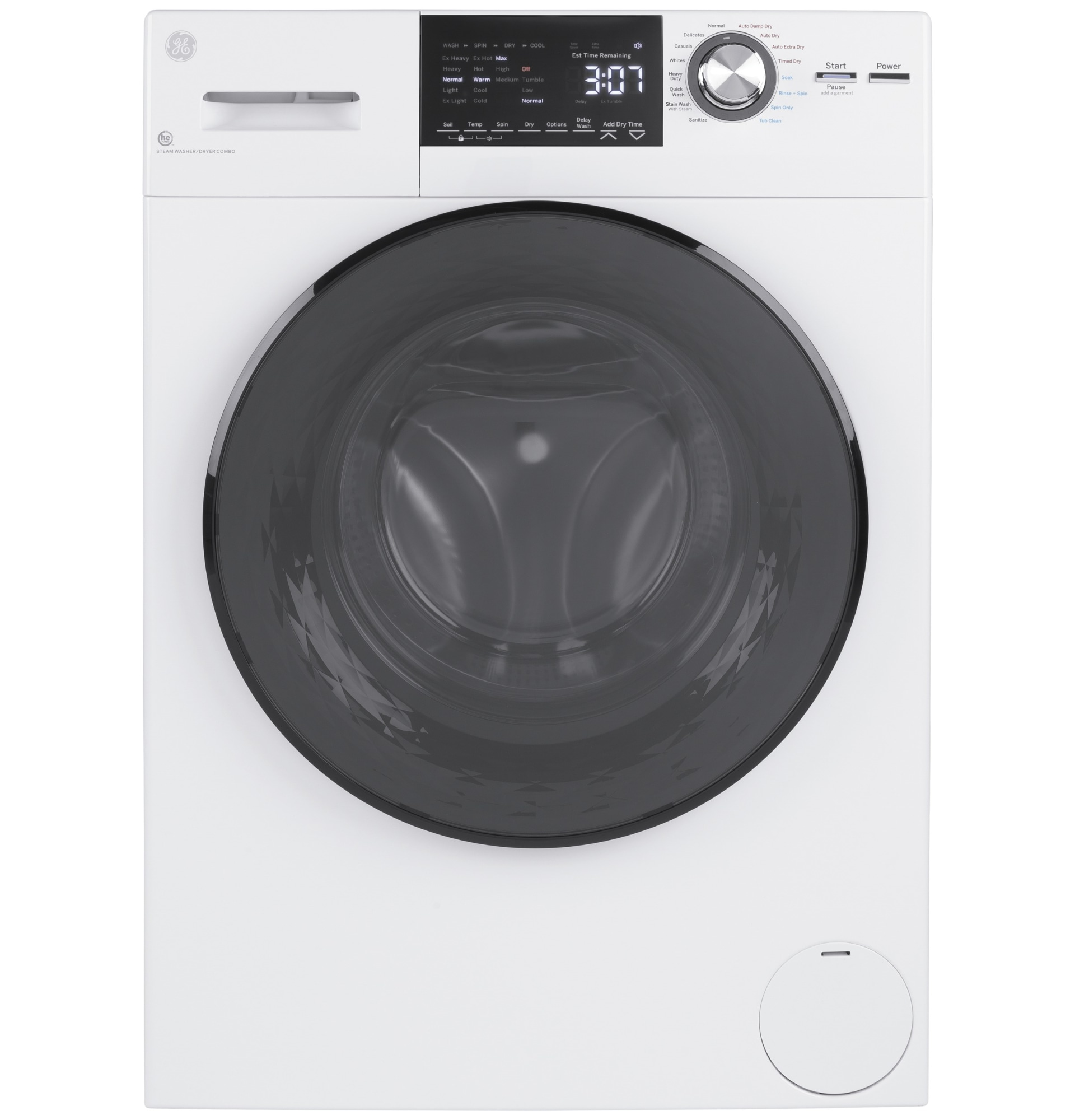 Ge 2 4 Cu Ft White High Efficiency Ventless Electric All In One Washer Dryer Combo