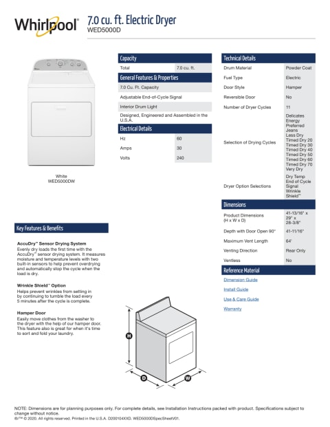 Wed5000dw Whirlpool 7 0 Cu Ft Top Load Electric Dryer With Wrinkle Shield Plus White Manuel Joseph Appliance Center