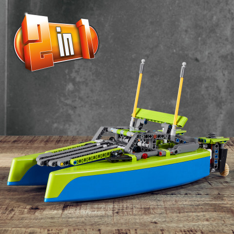 LEGO 42105 Technic 2-IN-1 Model Catamaran And Race Power Boat Building Toy Set