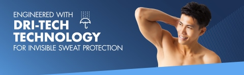 Engineered with Dri-Tech Technology For Invisible Sweat Protection
