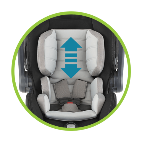 One-hand adjustable headrest and harness