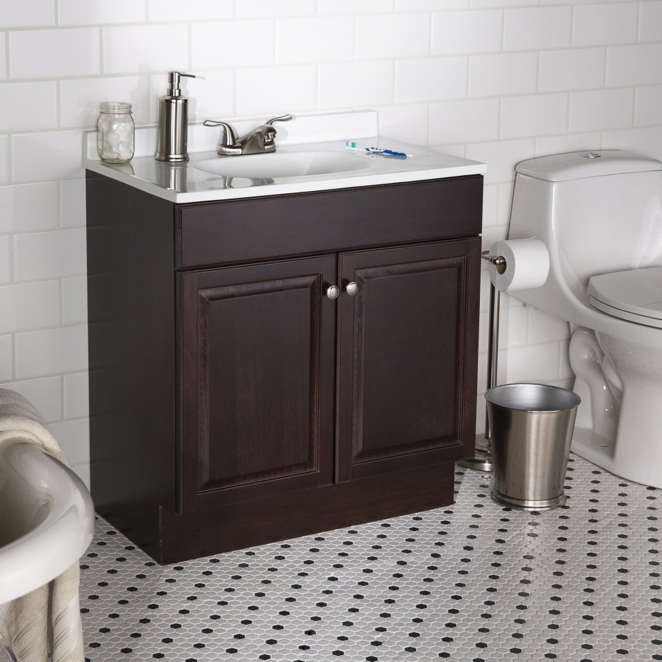 Project Source 30 In Java Single Sink Bathroom Vanity With White Cultured Marble Top In The Bathroom Vanities With Tops Department At Lowes Com