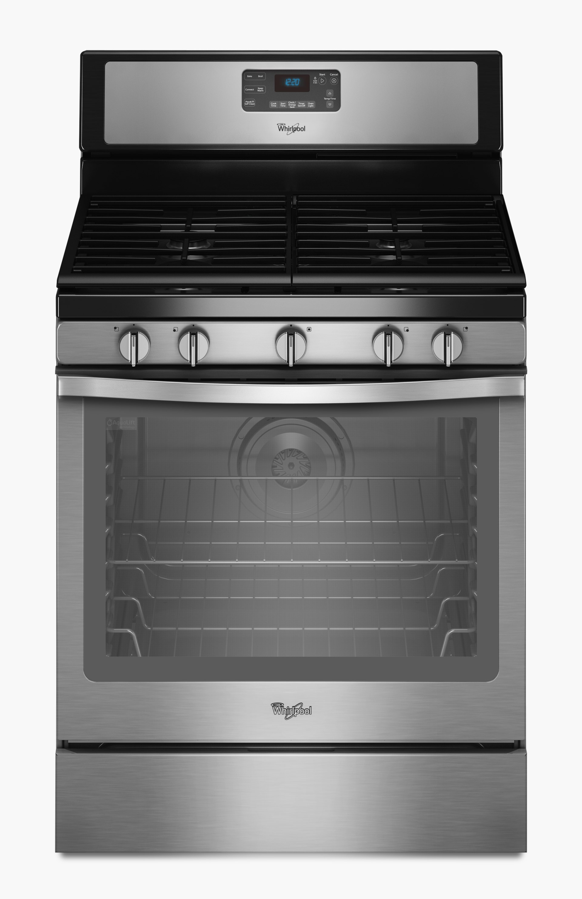 Whirlpool 30 In 5 Burners 5 8 Cu Ft Self Cleaning Convection Oven Freestanding Gas Range Black On Stainless In The Single Oven Gas Ranges Department At Lowes Com