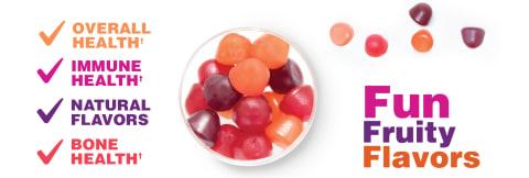 Fun fruity flavors for overall health, immune health & bone health