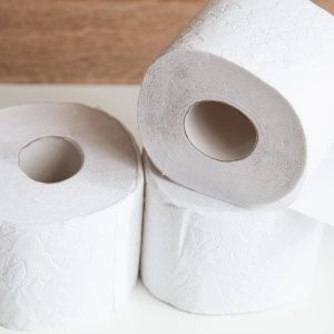 A stack of toilet paper rolls