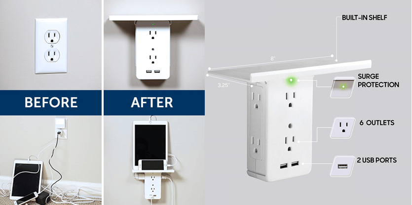 Before After Built-in-shelf Surge protection 6 outlers 2 USB Ports