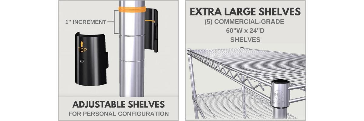 Shelves are adjustable using slip sleeves