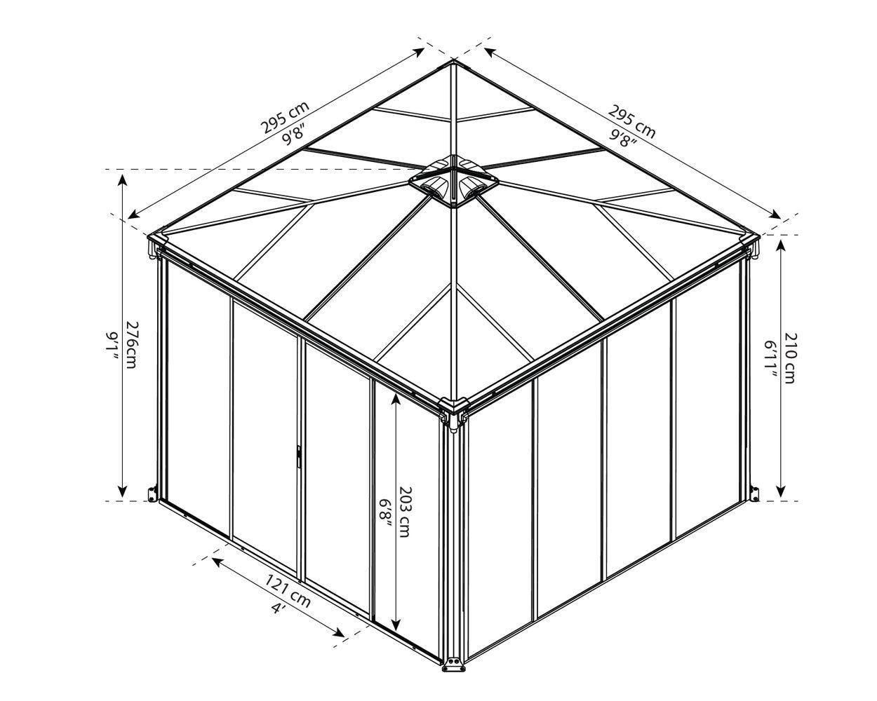 Assembled Dimensions – Ledro 3000 10 ft. x 10 ft. Enclosed Gazebo