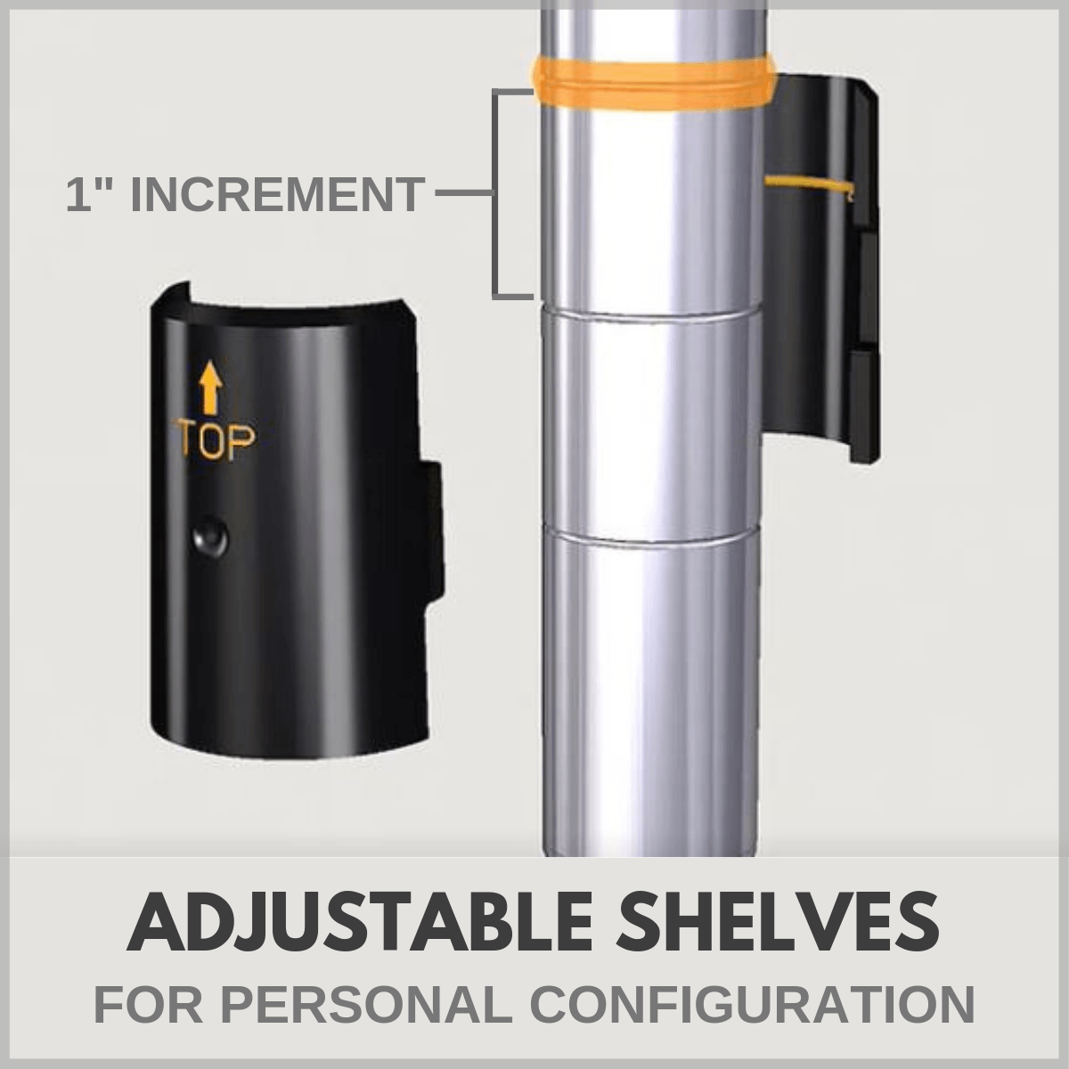 "Adjustable shelves in 1"" increments"