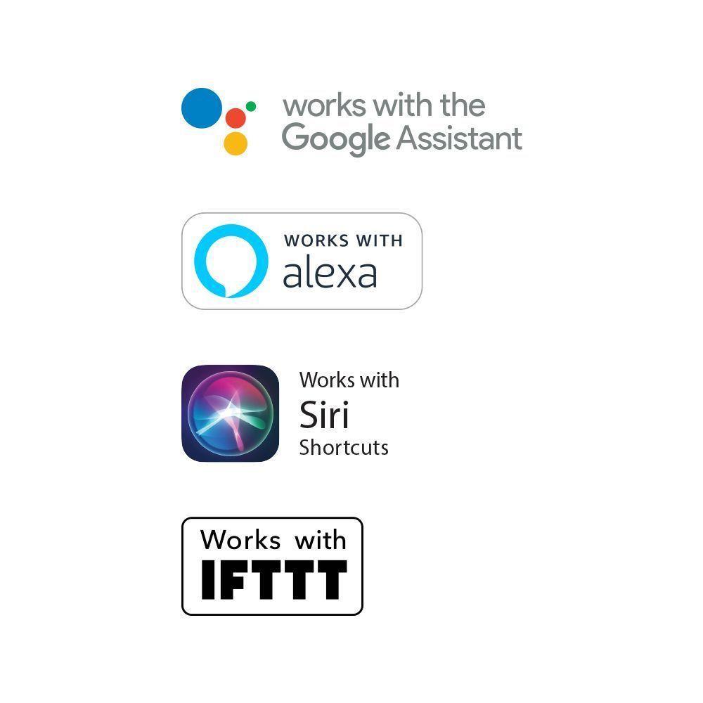 Funciona con el Asistente de Google, Alexa, Atajos de Siri, IFTTT