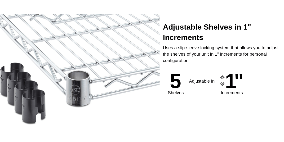 Shelves are adjustable in 1 inch increments