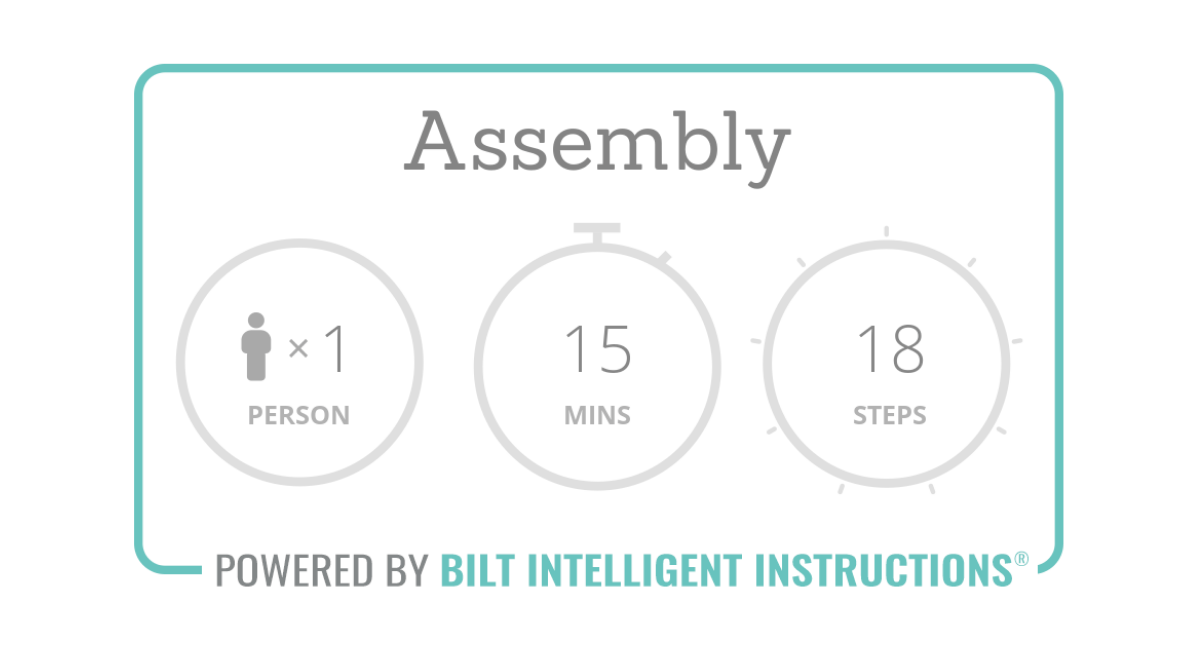 Assembly overview: 1 person, 15 mins or less assembly time, 18 steps total