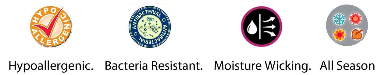 Organic. hypoallergenic. bacteria resistant. moisture wicking. all season.