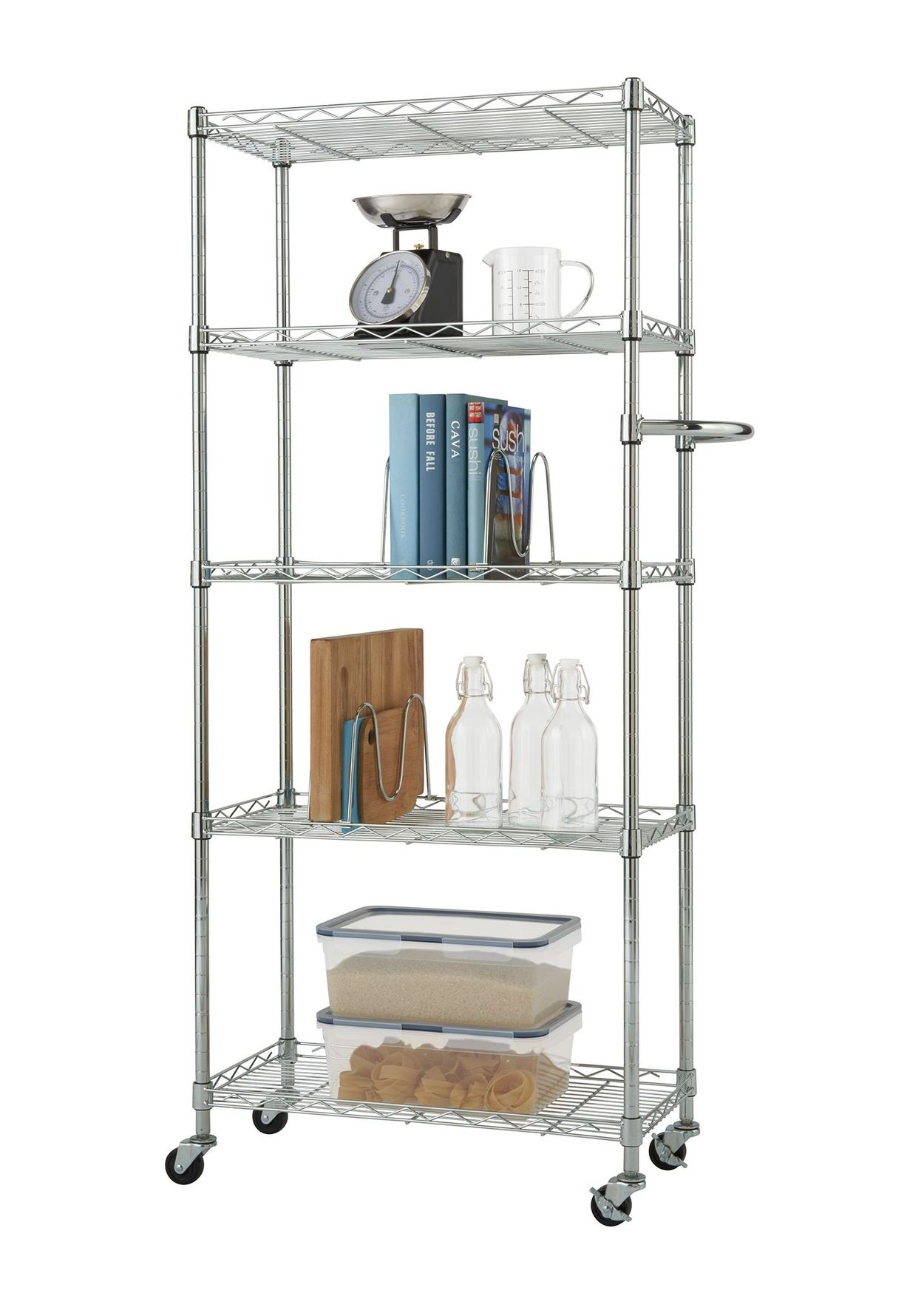 EcoStorage™ Chrome pantry rack with props