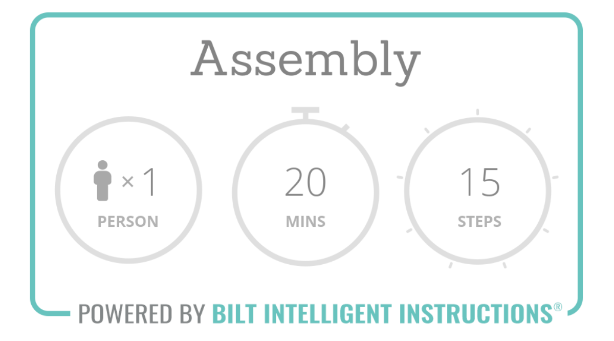 Assembly time: 20 mins, 15 steps and 1 person recommended