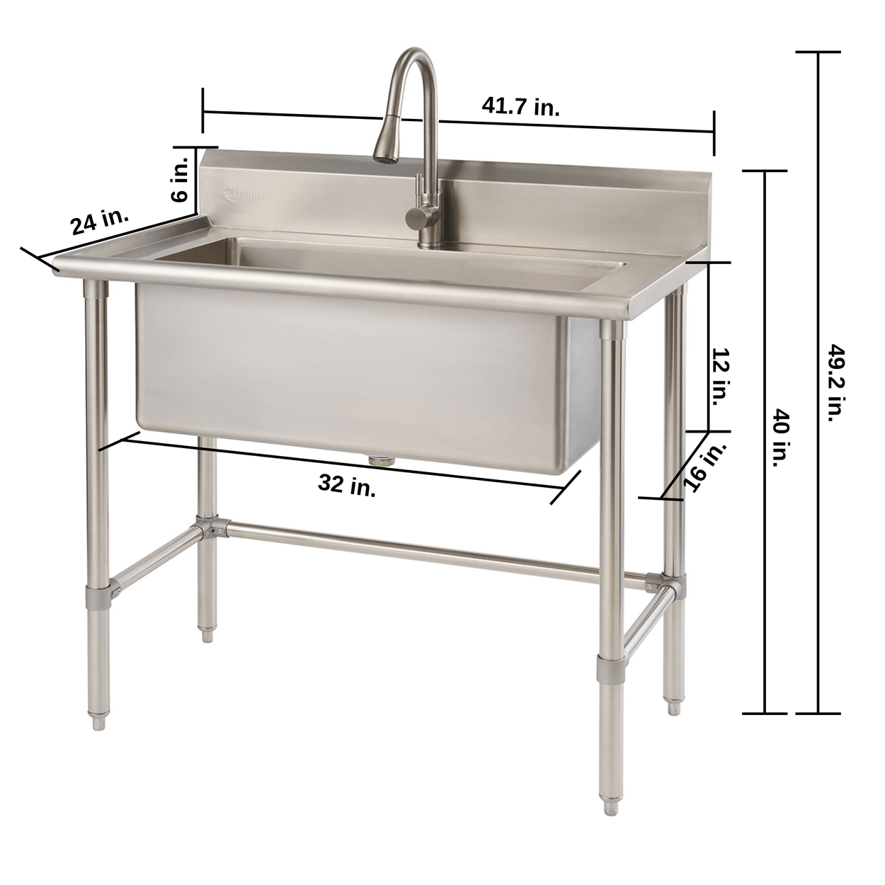 Picture of: Trinity 32 X 16 Stainless Steel Utility Sink