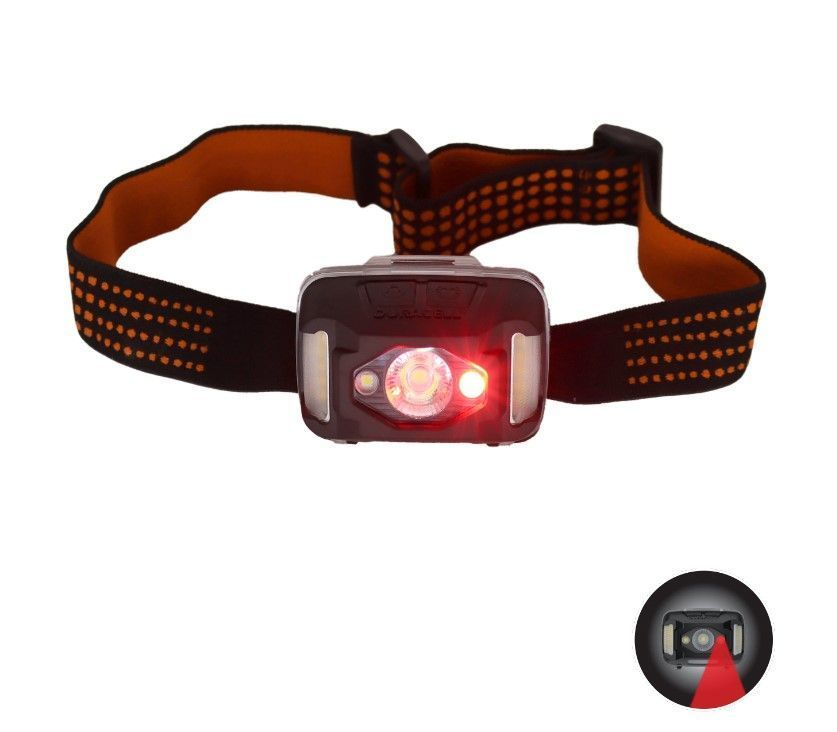 Image of the front of the headlamp with the night vision on