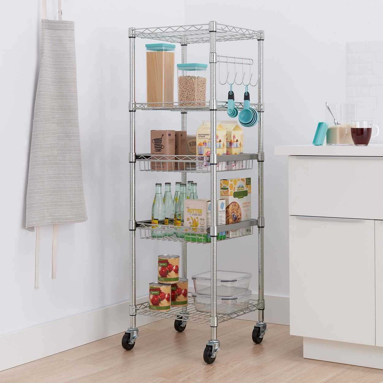 TRINITY square rack placed between the walls and counters